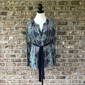 Crown & Ivy Belted Peasant Tunic Top Sz M NWT